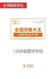 4G全国数据套餐12GB半年包