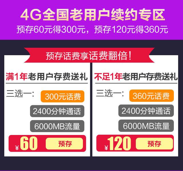 4G存费送费/业务