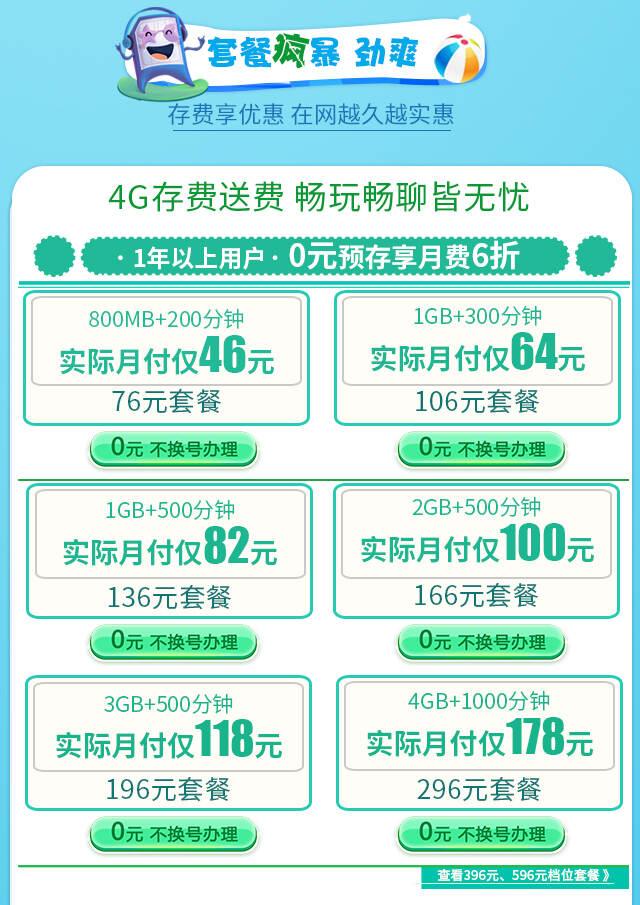 4G存费送费