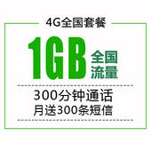 【4G全国套餐】月付76元享1GB+300分钟!【活体后激活】月送最多300条短信