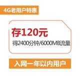 【老用户特惠】4G全国套餐存费120元送业务(在网1年以内用户)